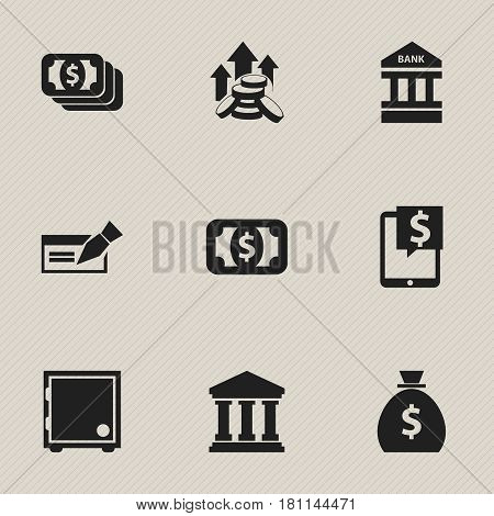Set Of 9 Editable Financial Icons. Includes Symbols Such As Banknote, Edifice, Coins Raise And More. Can Be Used For Web, Mobile, UI And Infographic Design.