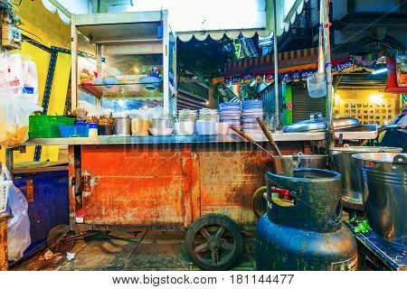 BANGKOK THAILAND - FEBRUARY 05: This is a street food vendor which typically sells cheap Thai food and are open until later hours on February 05 2017 in Bangkok
