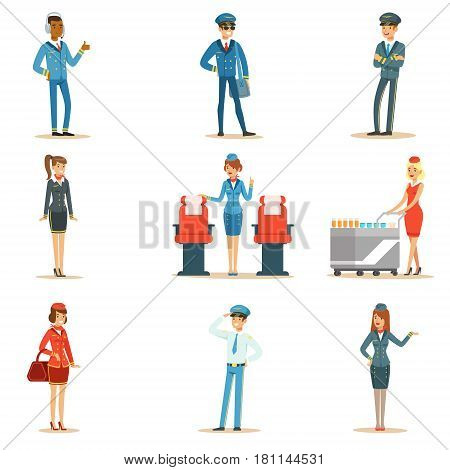 Commercial Flight Board Crew Set Of Air Transportation Professionals Working On The Plane, Stewardesses And Pilots. Smiling People Working For The Airline Cartoon Characters In Uniform Vector Illustrations.