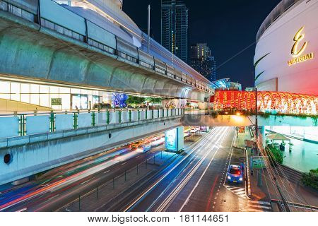 BANGKOK THAILAND - FEBRUARY 05: This is the Emporium Shopping mall and Phrom Phong sky train station which is connected to the mall February 05 2017 in Bangkok