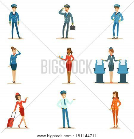 Commercial Flight Board Crew Collection Of Air Transportation Professionals Working On The Plane, Stewardesses And Pilots. Smiling People Working For The Airline Cartoon Characters In Uniform Vector Illustrations.