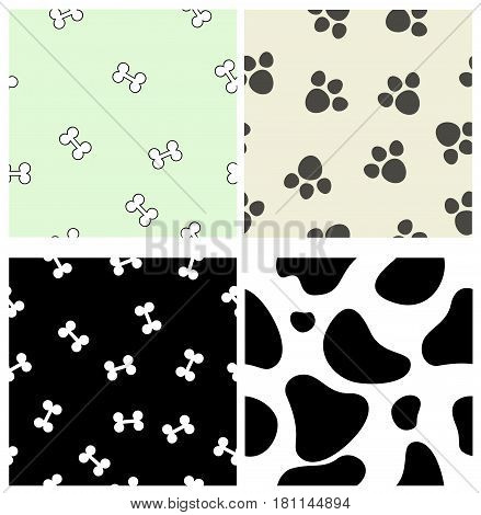 Four seamless pattrens with bones, spots, . Vector