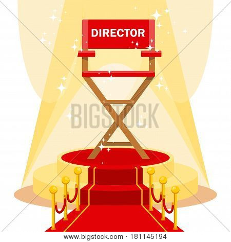 Red film directors chair with on luxurious catwalk with red carpet. Flat vector cartoon illustration. Objects isolated on a white background.