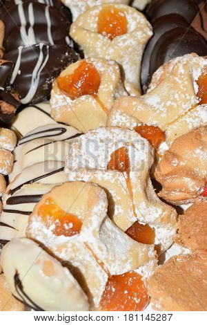 Assortment Of Delicious Sicilian Biscuits With Chocolate, Vanilla And More