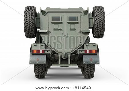 Truck army transport green vehicle, back view. 3D rendering