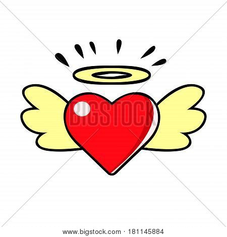 Red heart with wings and halo, vector comic illustration in pop art retro style isolated on white background