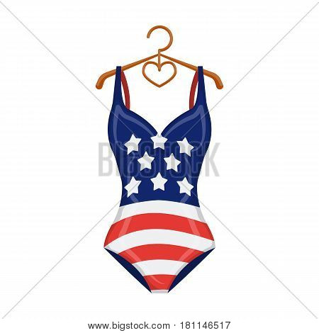 Women swimsuit closed with the flag of America. Swimsuit for the patriots.Swimcuits single icon in cartoon style vector symbol stock web illustration.