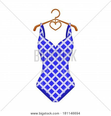 Blue and white swimsuit for competitive swimming. Swimsuit with checkered pattern.Swimcuits single icon in cartoon style vector symbol stock web illustration.
