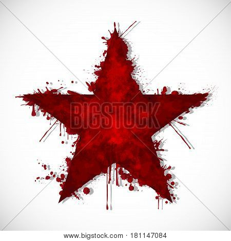 Illustration of a bloody star on a white background.