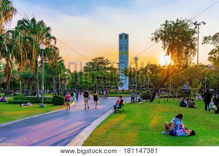 BANGKOK THAILAND - FEBRUARY 04: This is Chatuchak park a famous park in Bangkok where many people come to relax friends and family on February 04 2017 in Bangkok