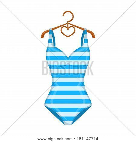 Bright striped swimsuit in the colors of the rainbow. Beach female form.Swimcuits single icon in cartoon style vector symbol stock web illustration.