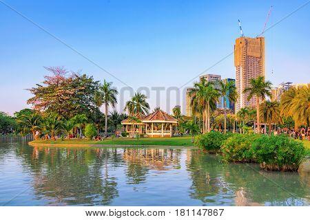 View of Chatuchak park and lake in Bangkok