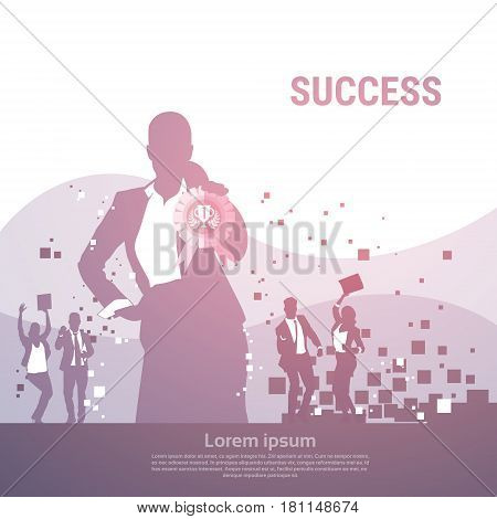 Business People Group Silhouette Excited Hold Hands Up Raised Arms, Businesswoman With Medal Winner Success Vector Illustration