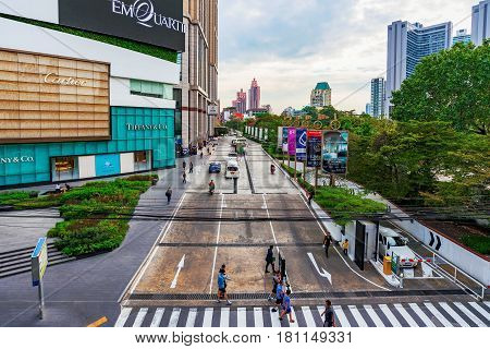 BANGKOK THAILAND - FEBRUARY 03: Entrance to the Emporium luxury shopping mall in downtown Bangkok February 03 2017 in Bangkok