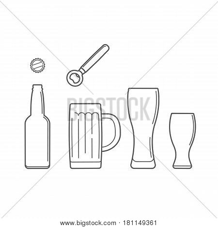 Set of beer glasses, cap and beer opener lineart style vector illustration