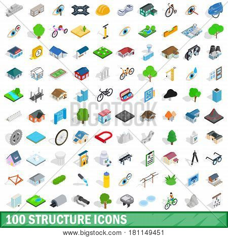 100 structure icons set in isometric 3d style for any design vector illustration