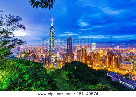 Night view of Taipei city and nature from Elephant mountain