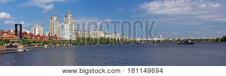 Obolon embankment in the spring Kyiv, Ukraine