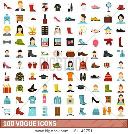 100 vogue icons set in flat style for any design vector illustration