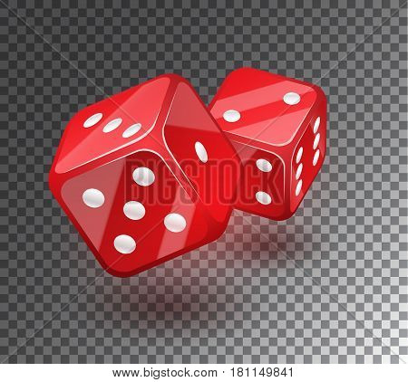 Red Dices On Transparent Background.