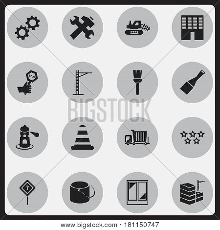Set Of 16 Editable Construction Icons. Includes Symbols Such As Seamark, Question Help, Architecture And More. Can Be Used For Web, Mobile, UI And Infographic Design.