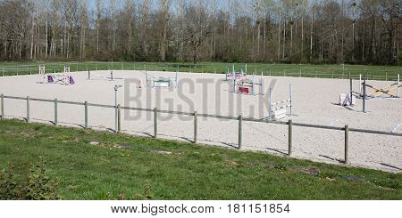 Training Trail To Learn The Horses To Jump During The Competitions