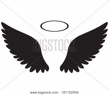 vector illustration of angel wings icon with halo
