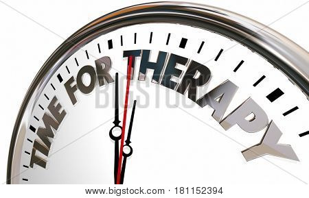 Time for Therapy Clock Feel Better Health Care Help 3d Illustration