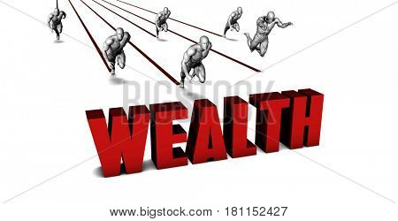 Higher Wealth with a Business Team Racing Concept 3D Illustration Render