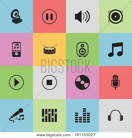 Set Of 16 Editable Audio Icons. Includes Symbols Such As Music, Speaker, Disc And More. Can Be Used For Web, Mobile, UI And Infographic Design.