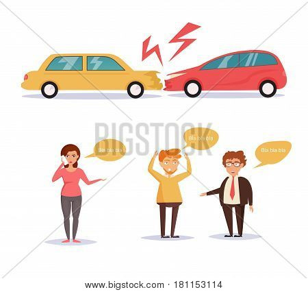 Car accident. Isolated art on white background. Vector. Cartoon. Flat. Woman talking on the phone, men shout.