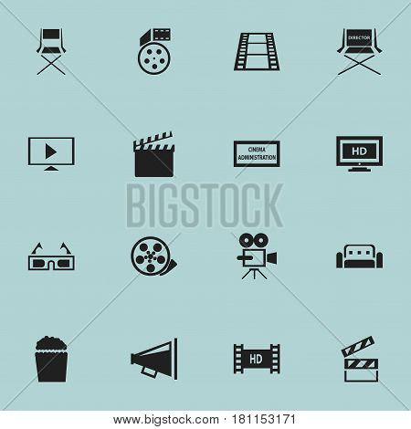 Set Of 16 Editable Filming Icons. Includes Symbols Such As Hd Tape, Shooting Seat, Hd Screen And More. Can Be Used For Web, Mobile, UI And Infographic Design.