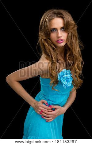 portarit of beautiful coquette young woman, isolated on black background