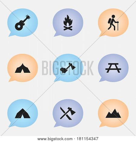 Set Of 9 Editable Travel Icons. Includes Symbols Such As Ax, Musical Instrument, Desk And More. Can Be Used For Web, Mobile, UI And Infographic Design.
