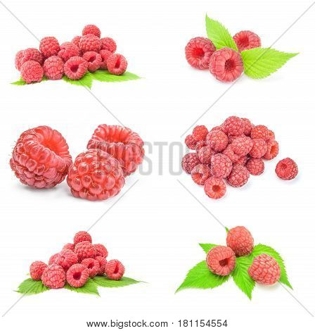 Group of ripe red raspberries isolated over a white background