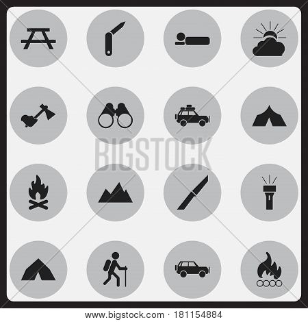 Set Of 16 Editable Trip Icons. Includes Symbols Such As Knife, Clasp-Knife, Voyage Car And More. Can Be Used For Web, Mobile, UI And Infographic Design.