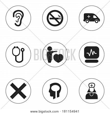 Set Of 9 Editable Hospital Icons. Includes Symbols Such As Pulse, Hospital Assistant, Human Love And More. Can Be Used For Web, Mobile, UI And Infographic Design.
