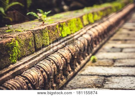 Ancient mossy border pavement with perspective and vanishing point as ancient background in vintage style