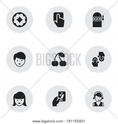 Set Of 9 Editable Gambling Icons. Includes Symbols Such As Gambling, Call Center, Jackpot And More. Can Be Used For Web, Mobile, UI And Infographic Design.