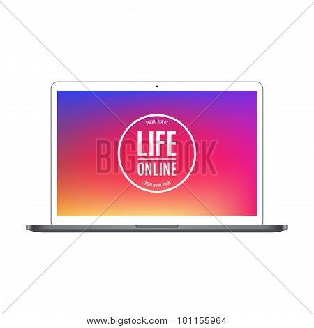 laptop color with colored screen isolated on white background. stock vector illustration eps10