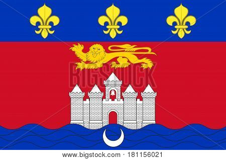 Flag of Bordeaux is a port city on the Garonne River in the Gironde department in southwestern France. Vector illustration poster