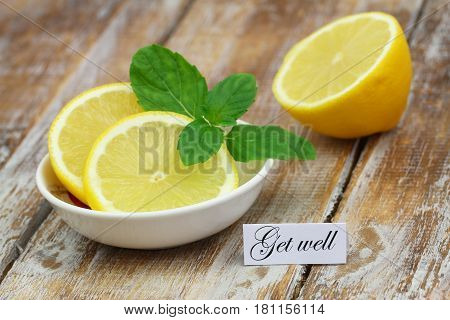 Get well card with mint tea and lemon on bamboo mat