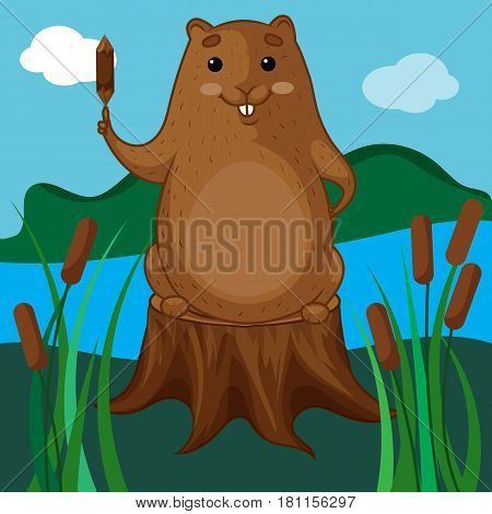 Beaver Character, Brown Beaver Sitting on a Tree Stump, Beaver with a Log, Background Nature, Hand Drawn Clipart, Vector Illustration EPS 10