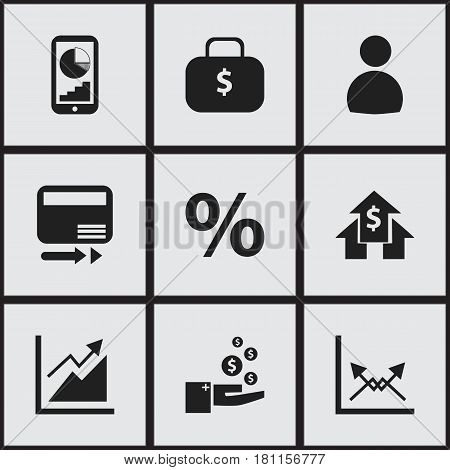 Set Of 9 Editable Analytics Icons. Includes Symbols Such As Profit, User, Phone Statistics And More. Can Be Used For Web, Mobile, UI And Infographic Design.