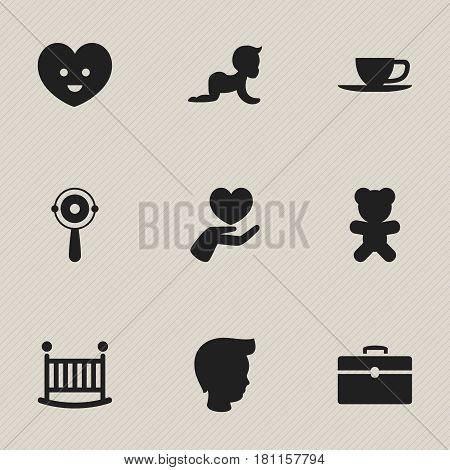 Set Of 9 Editable Family Icons. Includes Symbols Such As Heart, Rattle, Kid And More. Can Be Used For Web, Mobile, UI And Infographic Design.