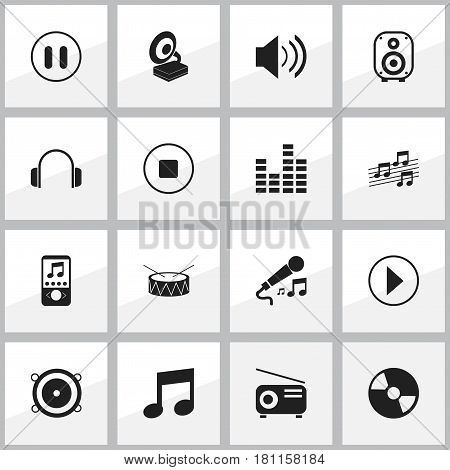 Set Of 16 Editable Music Icons. Includes Symbols Such As Media Fm, Bass Speakers, Bar Wave And More. Can Be Used For Web, Mobile, UI And Infographic Design.