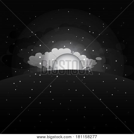 Morning sunrise sky background. Sunrise сlouds stars. Night sky. Vector illustration.