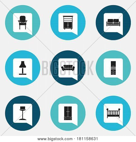 Set Of 9 Editable Interior Icons. Includes Symbols Such As Enlightenment, Canape, Material Cupboard And More. Can Be Used For Web, Mobile, UI And Infographic Design.