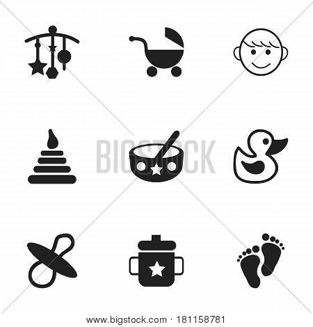 Set Of 9 Editable Infant Icons. Includes Symbols Such As Goplet, Tower, Bath Toys And More. Can Be Used For Web, Mobile, UI And Infographic Design.