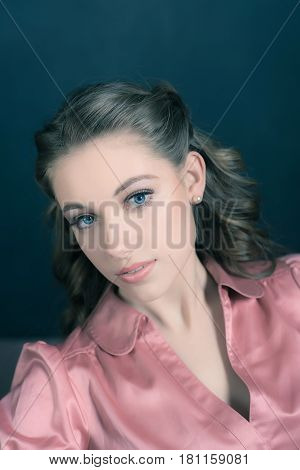 Retro 1940S Beauty Portrait Of Young Woman With Up Hair.